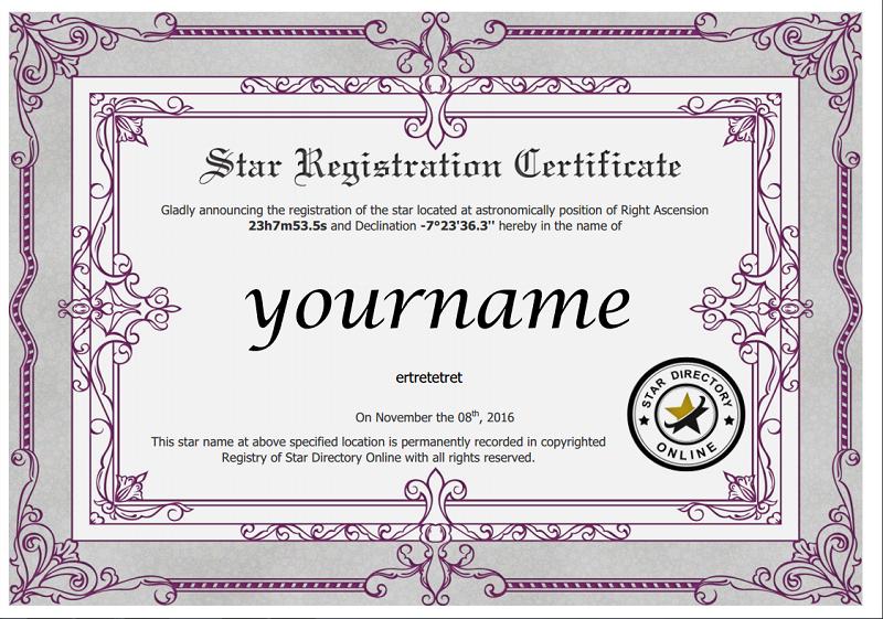 Name A Star Certificate Template Mandegarfo